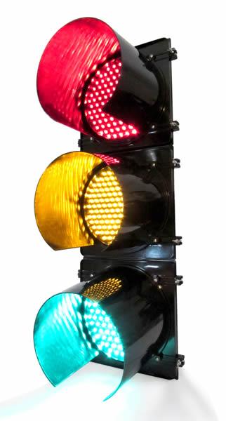 """Semáforo de 30 cm (12""""), rojo, ambar, verde"""
